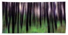 Black Pines In A Green Wood Beach Towel
