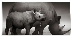 Black Rhinoceros Baby And Cow Beach Towel