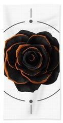 Black Rose - Black And Gold Rose - Death - Minimal Black And Gold Decor - Dark Beach Towel