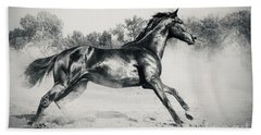 Beach Towel featuring the photograph Black Stallion Horse by Dimitar Hristov