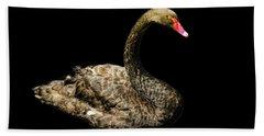 Black Swan On Black  Beach Towel