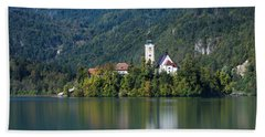 Beach Towel featuring the photograph Bled Island by Davor Zerjav
