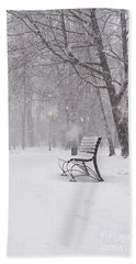 Blizzard In The Park Beach Towel