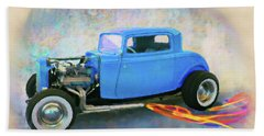 Blue 32 Ford Coupe Beach Towel