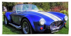 Beach Towel featuring the photograph Blue 427 Shelby Cobra In The Garden by David King