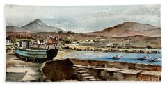 Beach Towel featuring the painting Blue Boat At Greystones Harbour by Val Byrne