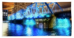 Blue Bridge Autumn Sky Beach Towel