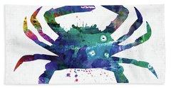 Blue Crab Watercolor Beach Towel