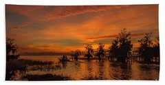 Blue Cypress Sunrise With Boat Beach Sheet