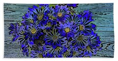 Beach Towel featuring the digital art Blue Daisies by Dee Flouton