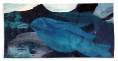 Beach Towel featuring the painting Blue Fish by Maria Langgle