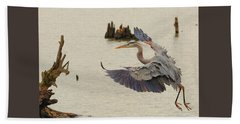 Blue Heron 2 Beach Towel