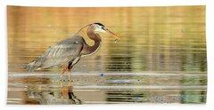 Blue Heron Fishing Beach Towel