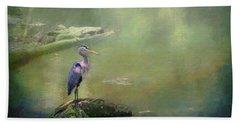 Blue Heron Isolated Beach Towel