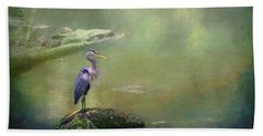 Blue Heron Isolated Beach Towel
