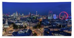 Beach Towel featuring the photograph Blue Hour In London by Stewart Marsden