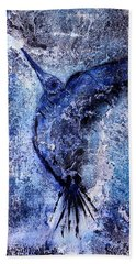 Beach Towel featuring the painting Blue Hummingbird by 'REA' Gallery