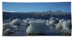 Blue Icebergs Floating Along Storm Arctic Coast Panorama Beach Sheet