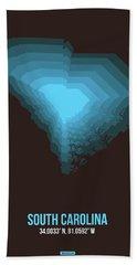 Blue Map Of South Carolina Beach Towel