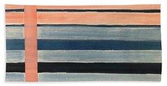 Blue Peachy Stripes Beach Towel