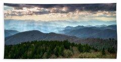 Blue Ridge Mountains Asheville Nc Scenic Light Rays Landscape Photography Beach Towel