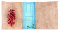 Blue Shutters And Chili Peppers Beach Sheet
