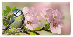 Blue Tit On Apple Blossom Beach Towel