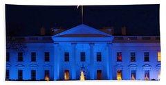 Blue White House Beach Towel