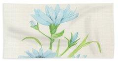 Blue Wildflowers Watercolor Beach Towel