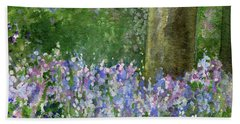 Bluebells Under The Trees Beach Towel