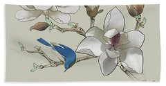 Bluebird And Magnolia Beach Towel