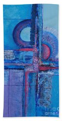 Blues With Purple Abstract Beach Towel