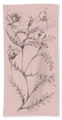 Blush Pink Flower Illustration I Beach Towel