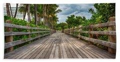 Boardwalk In Miami Beach Beach Towel