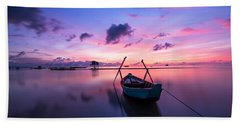 Boat Under The Sunset Beach Towel