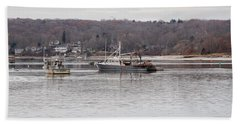 Boats At Northport Harbor Beach Sheet