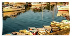 Beach Towel featuring the photograph Boats In The Cove. Perkins Cove, Maine by Jeff Sinon