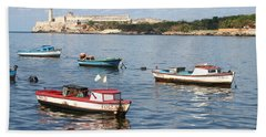 Boats In The Harbor Havana Cuba 112605 Beach Sheet