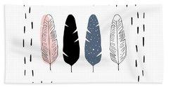 Boho Feathers - Boho Chic Ethnic Nursery Art Poster Print Beach Towel