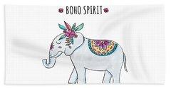 Boho Spirit Elephant - Boho Chic Ethnic Nursery Art Poster Print Beach Towel