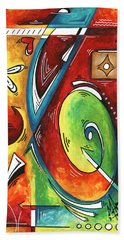 Bold Abstract Symbolic Inspirational Original Painting Follow Your Path By Madart Beach Towel