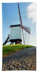 Beach Towel featuring the photograph Bonne Chiere Windmill Bruges Belgium by Nathan Bush