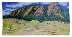 Beach Towel featuring the painting Flatirons Boulder Colorado by Tom Roderick