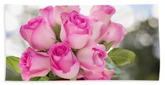 Bouquet Of Pink Roses Beach Sheet