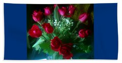 Beach Towel featuring the photograph Bouquet Of Red Roses by Elly Potamianos