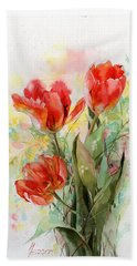 Bouquet Of Red Tulips Beach Sheet
