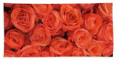 Bouquet Of The  Living Coral Roses Beach Sheet