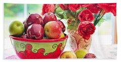 Bowl Of Red Apples Beach Towel