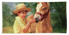 Boy And Foal  Beach Towel