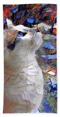 Brady The Half Siamese Half Tabby Cat Beach Sheet